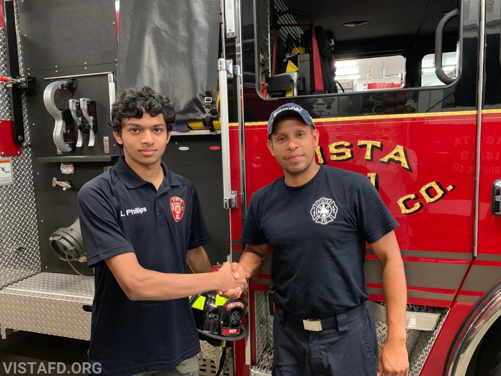 Firefighter Lance Phillips and his mentor, Lt. Wilmer Cervantes