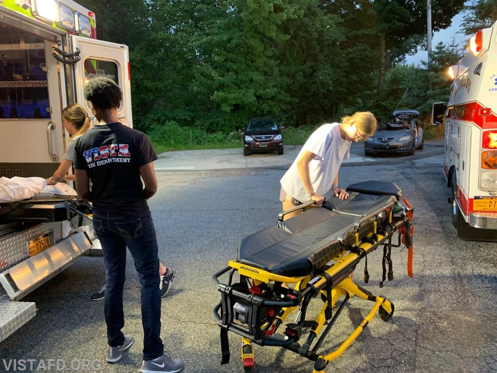 The Ambulance 84B1 team competing in properly putting the stretcher back in service
