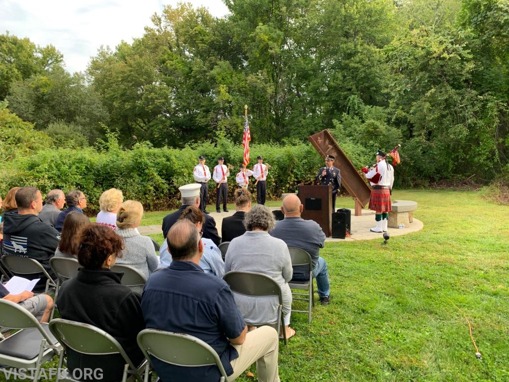 Vista Fire Department President Phil Katz speaking at the Town of Lewisboro 9/11 Memorial Service