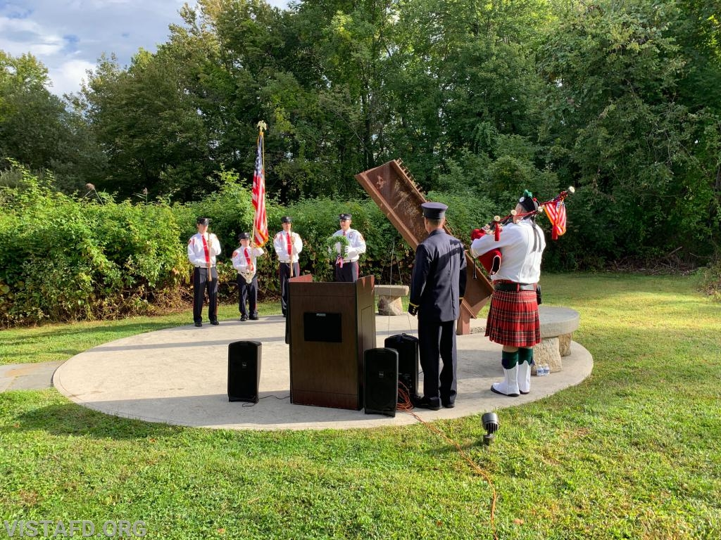 Vista Fire Department Honor Guard conducting the wreath laying during the Town of Lewisboro 9/11 Memorial Service