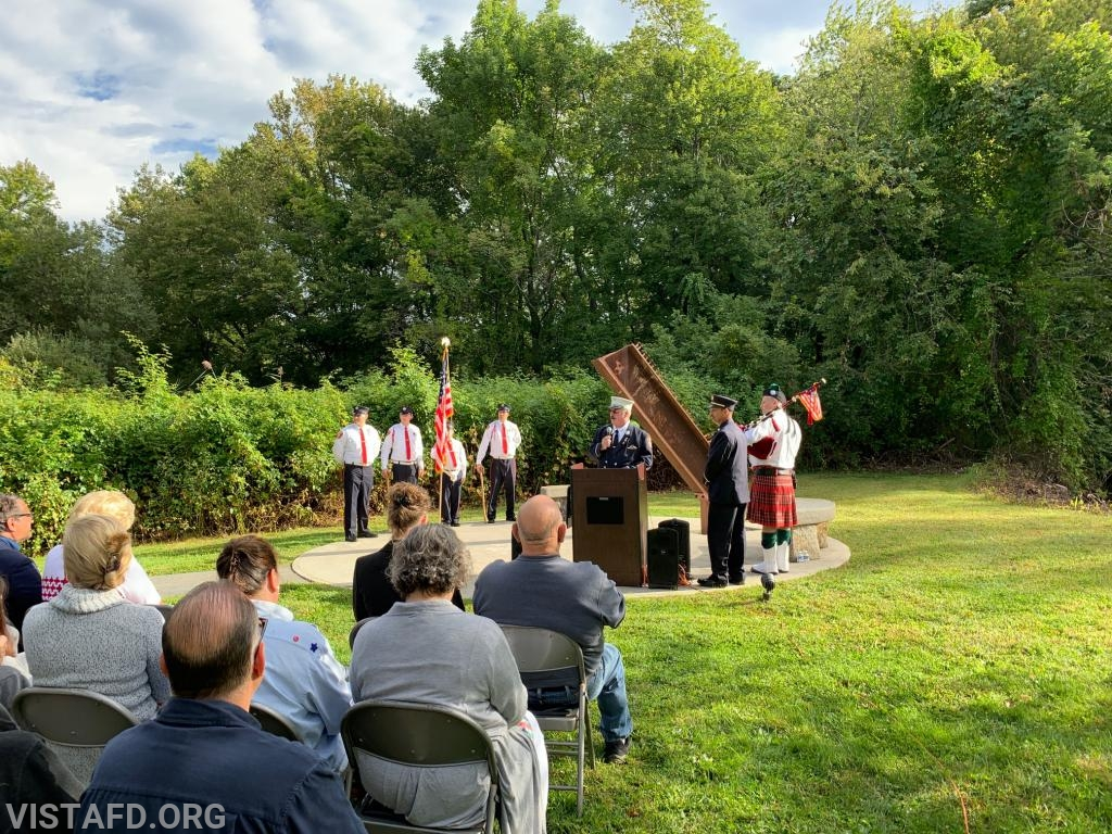 FDNY Lieutenant David Russell speaking at the Town of Lewisboro 9/11 Memorial Service