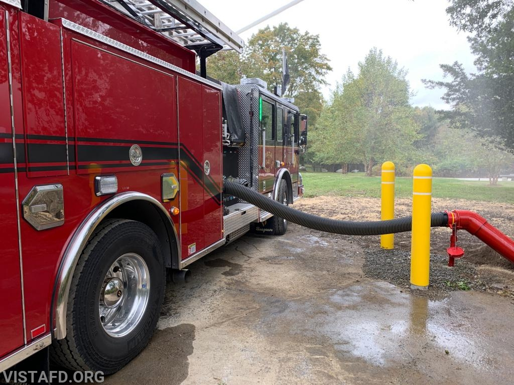 E-141 flowing water while hooked up to the Vista Firehouse dry hydrant
