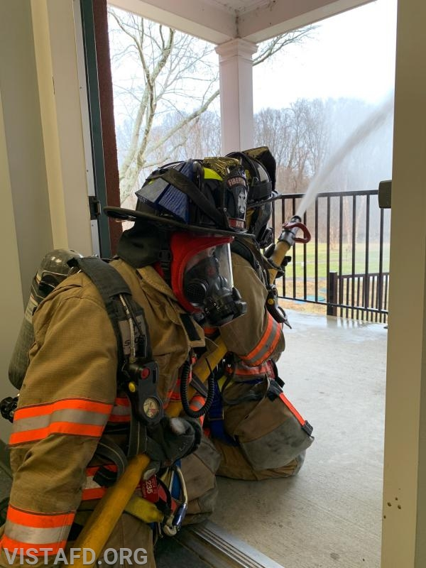 """Vista Firefighters practicing hose line advancement during """"Motor Pump Operators and Firefighter Skills Class"""""""
