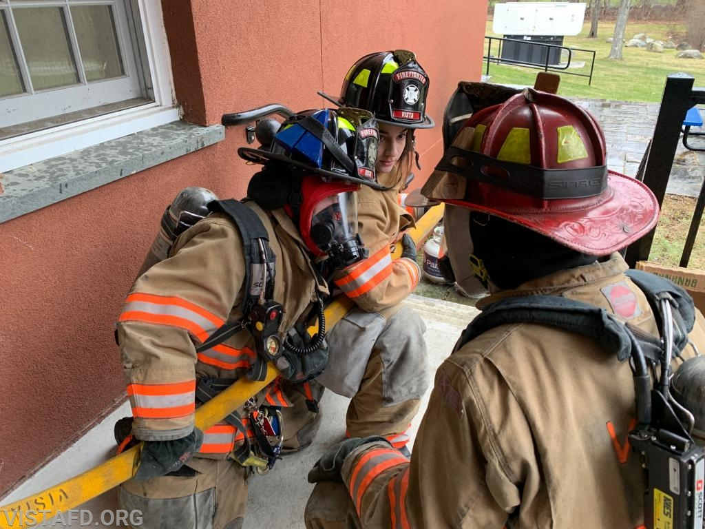 """Capt. Brian Porco going over how to advance hose line during """"Motor Pump Operators and Firefighter Skills Class"""""""