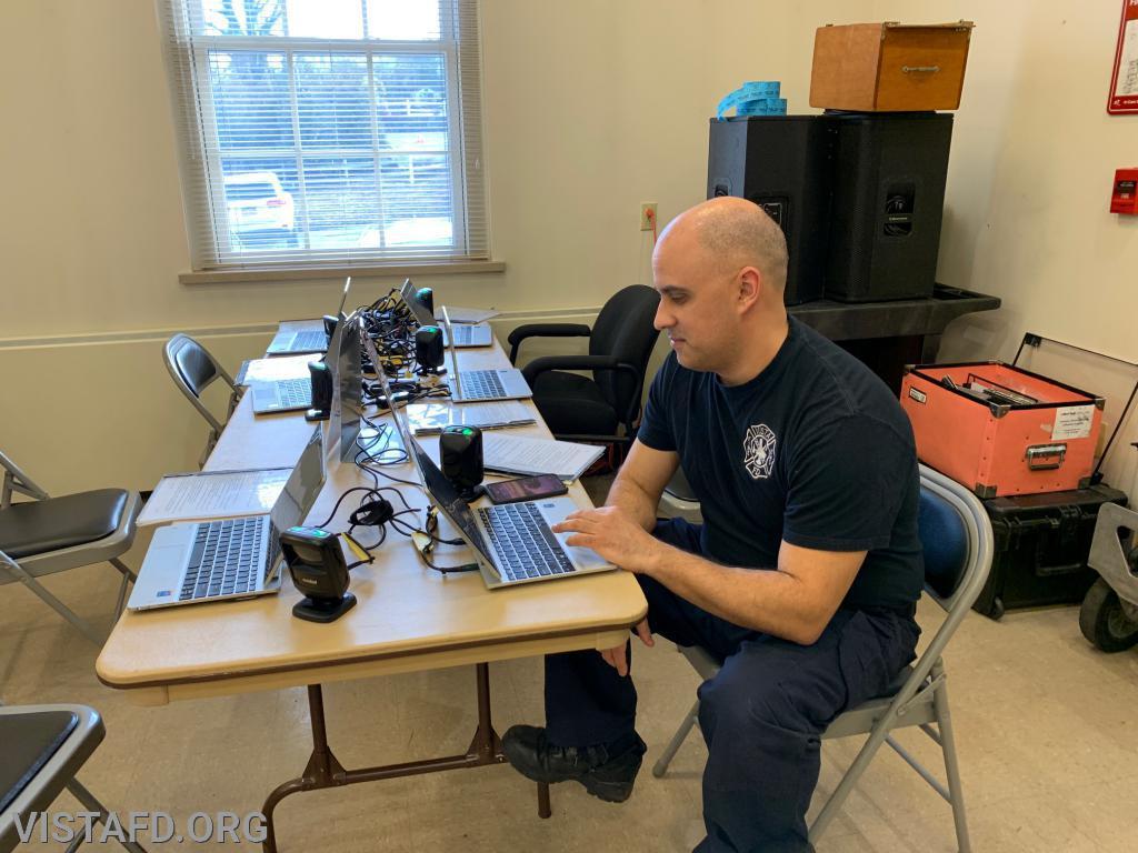 Foreman Dan Castelhano registering to donate blood