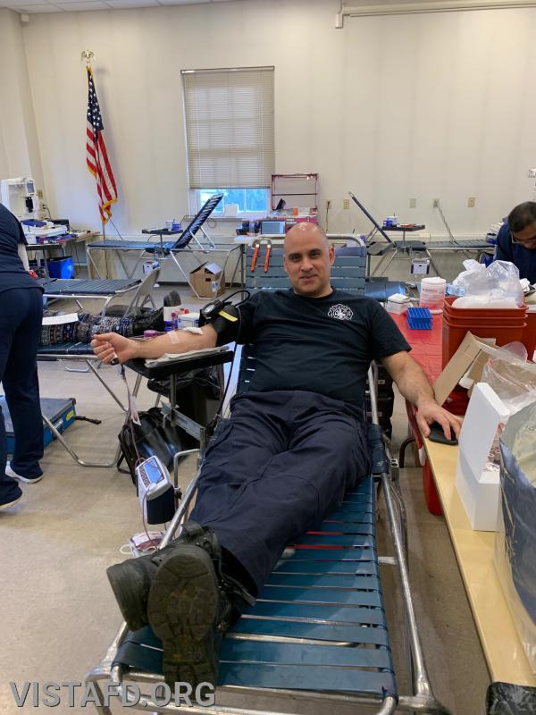 Foreman Dan Castelhano donating blood during our Winter Blood Drive