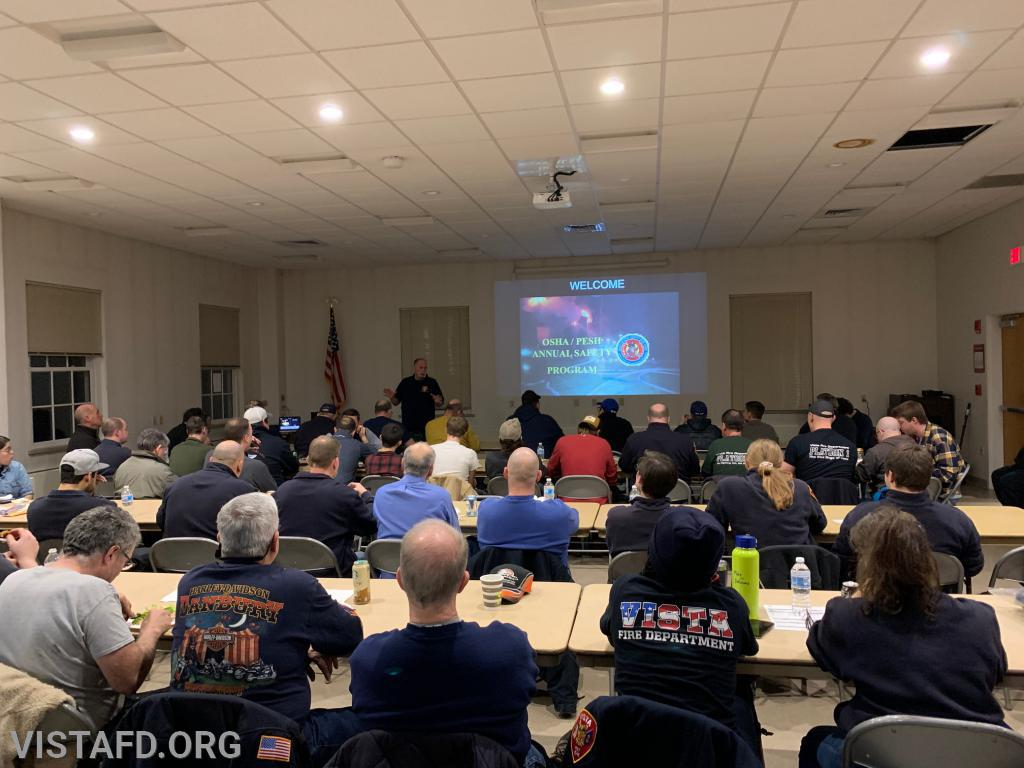Ex-Chief Bill Dingee teaches the annual OSHA class for both the Vista & South Salem Fire Departments