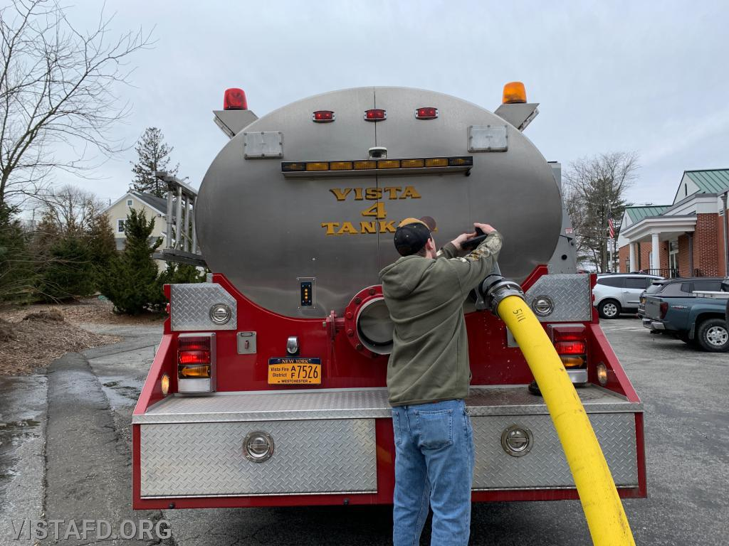 "Foreman Patrick Healy filling up T-4 from E-142 during ""MPO Class"""