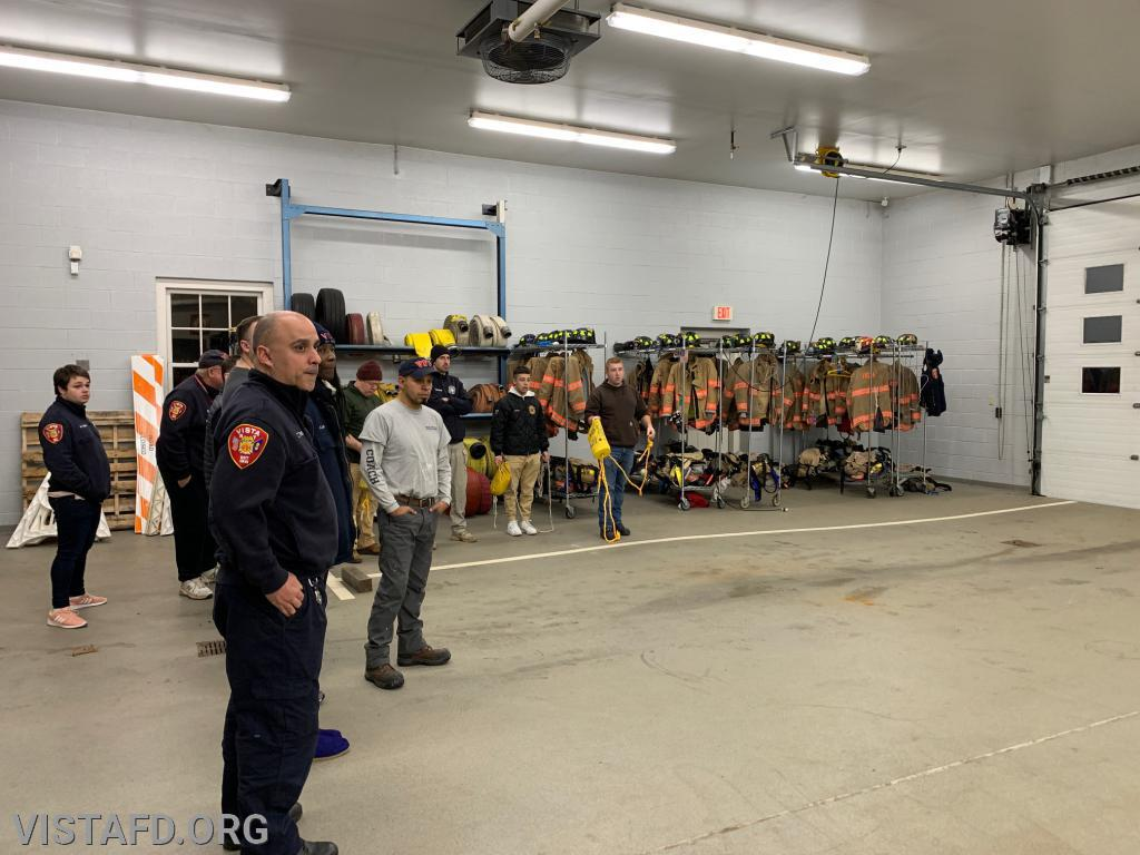 Vista Firefighters practicing how to use the rescue rope bag