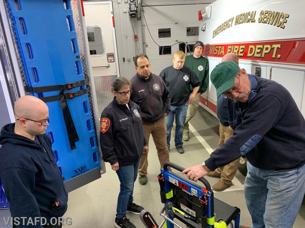 Ex-Chief Jim Hackett going over the equipment on Ambulance 84B1