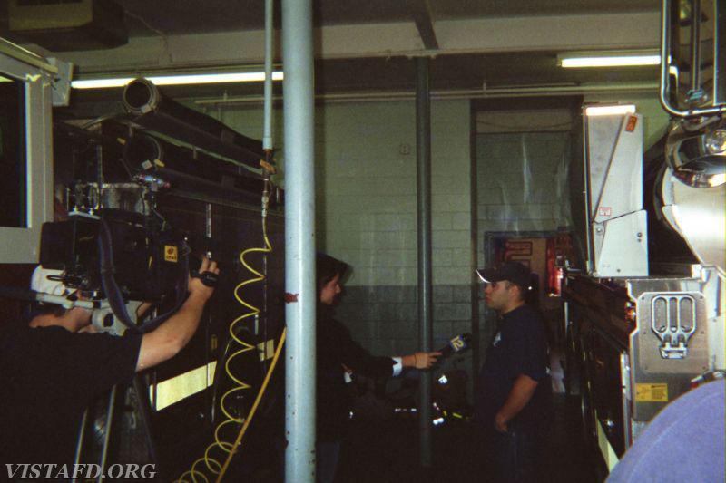 Former Vista Firefighter Chris Cruz gets interviewed by News 12 Westchester about responding to Hurricane Katrina