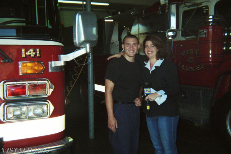 Former Vista Firefighter Jerry Miller with a News 12 Westchester reporter