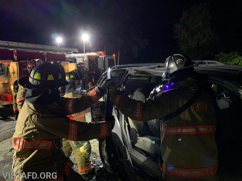Vista Firefighters practicing extrication operations