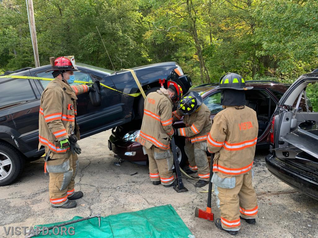 """Vista Firefighters practicing stabilization operations during """"Firefighter Skills Class"""""""