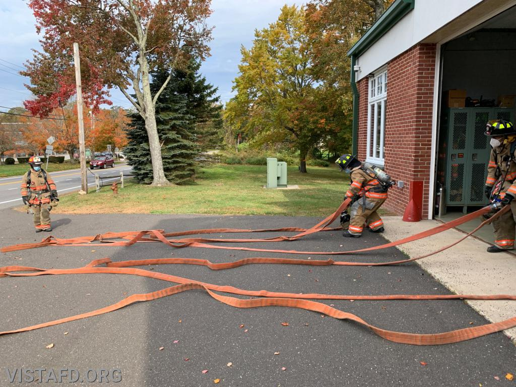 "Vista Firefighters practicing hose line advancement during ""Firefighter Skills Class"""