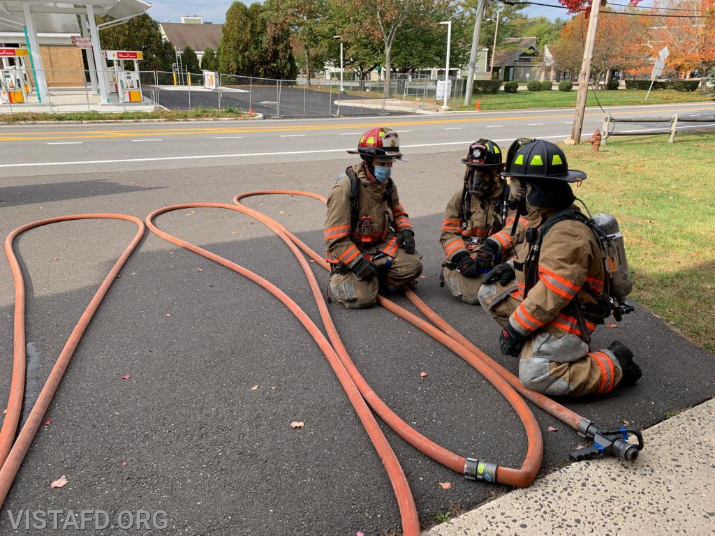 Capt. Phil Katz going over the structure fire training scenario