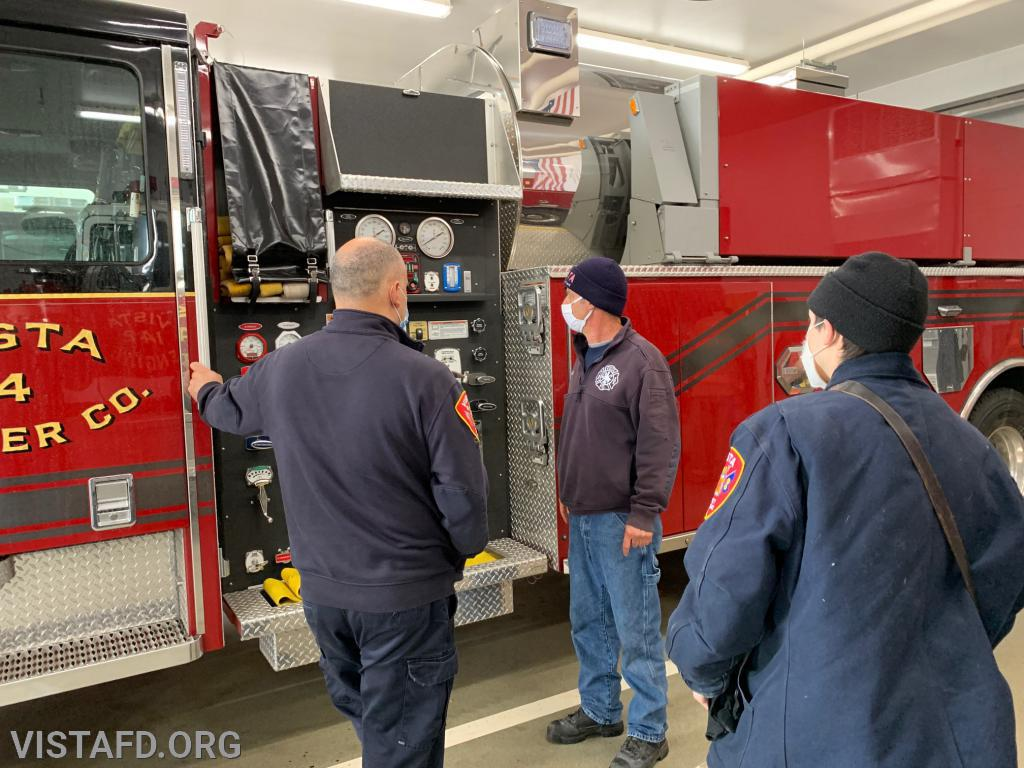 Captain Phil Katz going over Tanker 4 with Foreman Dan Castelhano and Mutual Responder Dom Mangone