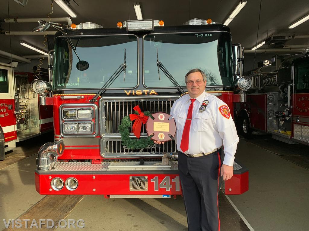 District Manager Tom Ritchey being honored for his 40 years of service with the Vista Fire Department