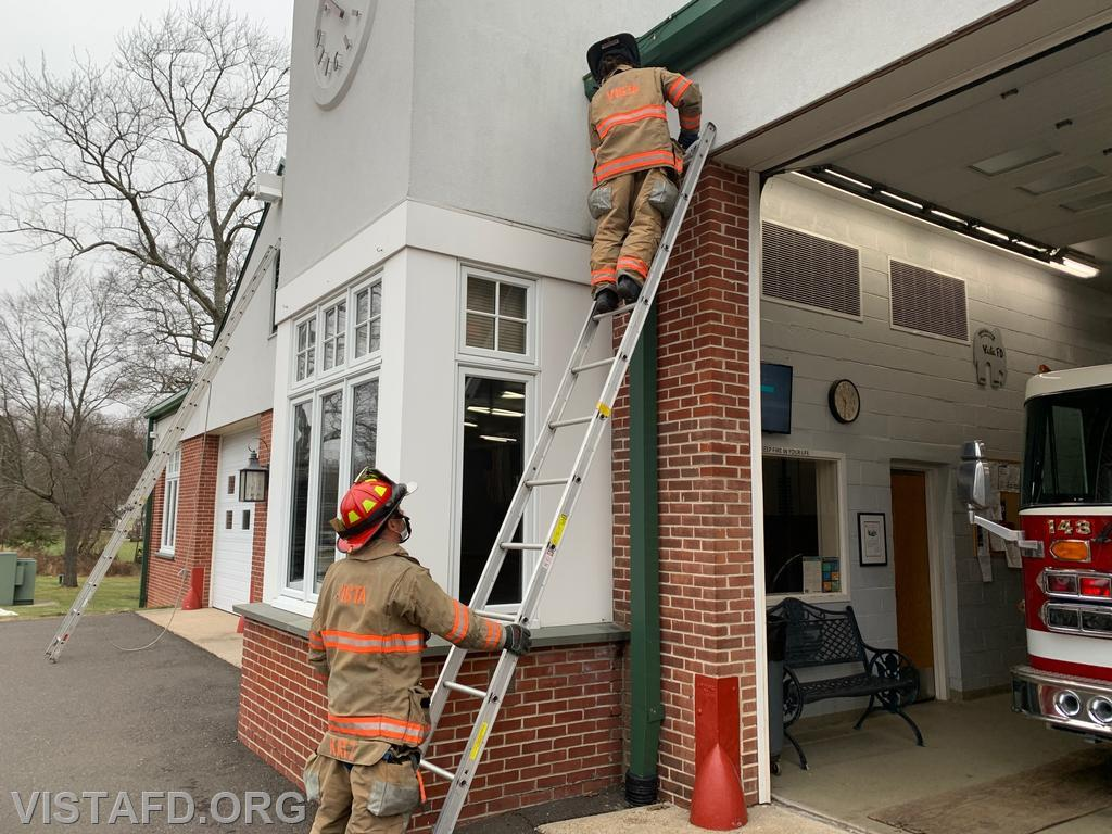 """Vista Firefighters practicing Ladder Operations during """"Firefighter Skills Class"""""""