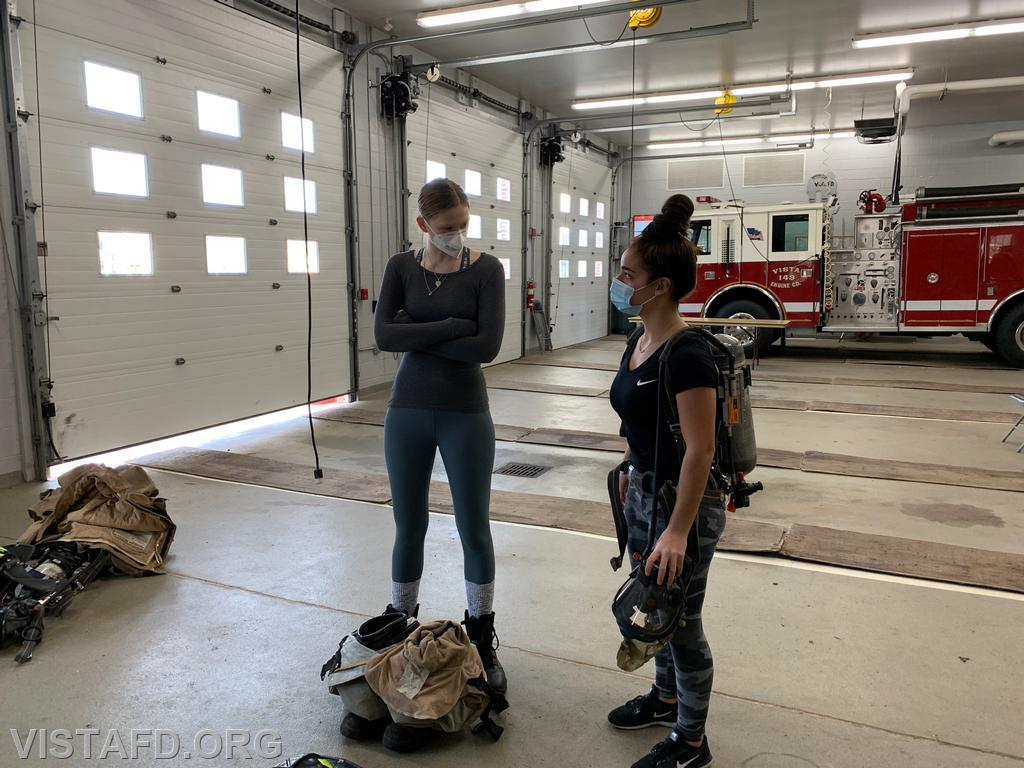 """Vista Firefighters going over our SCBAs during """"Firefighter Skills Class"""""""