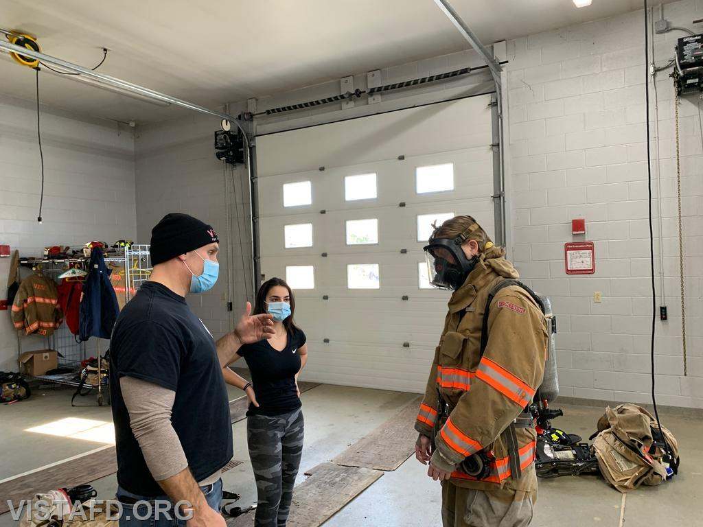 "Vista Firefighters going over Firefighter PPE during ""Firefighter Skills Class"""