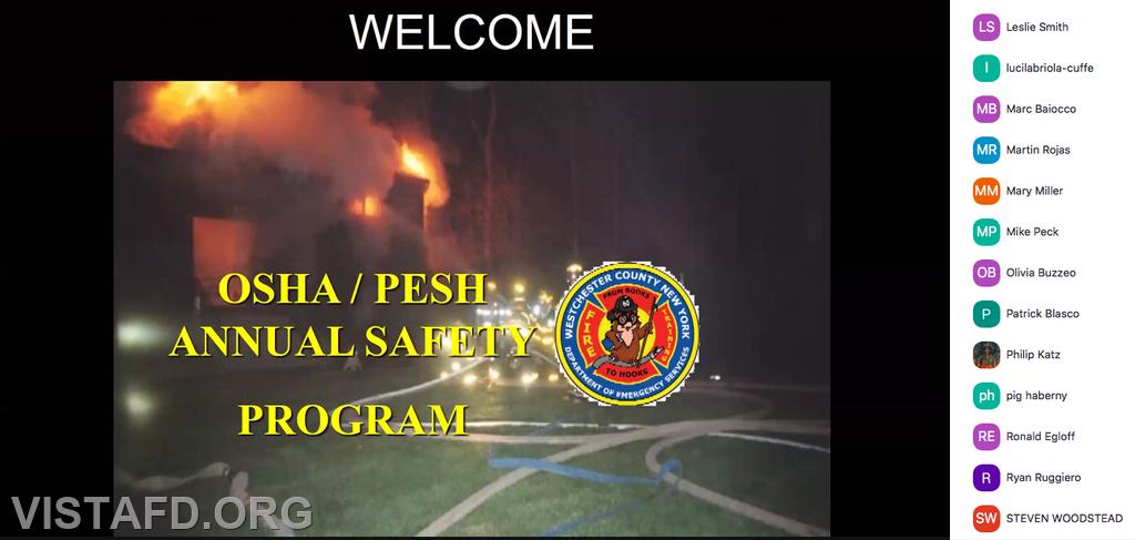 "Vista Fire Department personnel participating in Monday's ""OSHA Class Webinar Drill"""