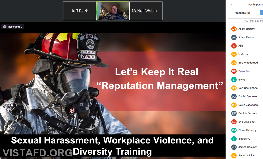 """Vista Fire Department personnel participating in Monday's """"Vista Fire District #1 Workplace Policies Webinar"""""""