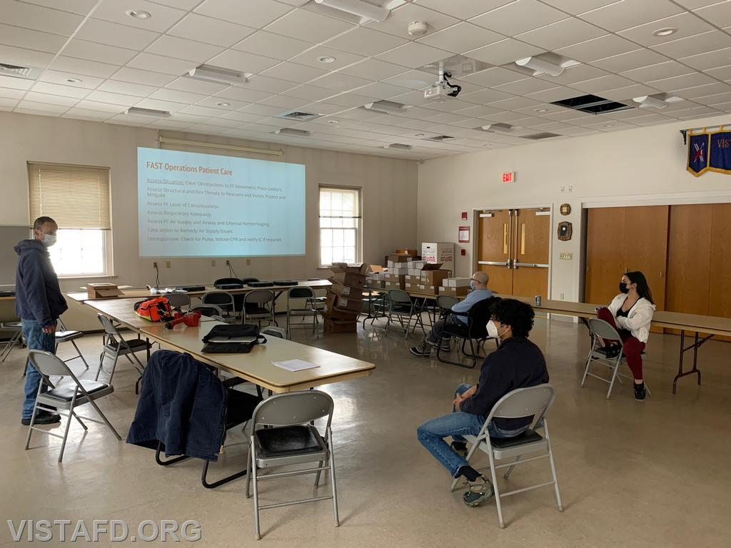 """Captain Phil Katz going over F.A.S.T. skills during """"Firefighter Skills Class"""""""