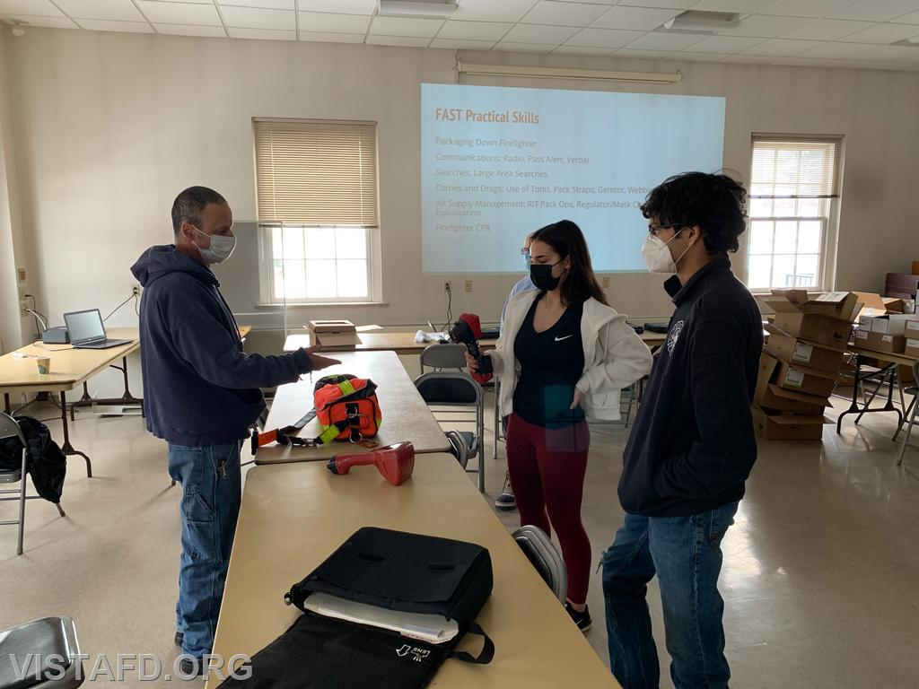 "Captain Phil Katz going over how to use the thermal imaging camera during ""Firefighter Skills Class"""