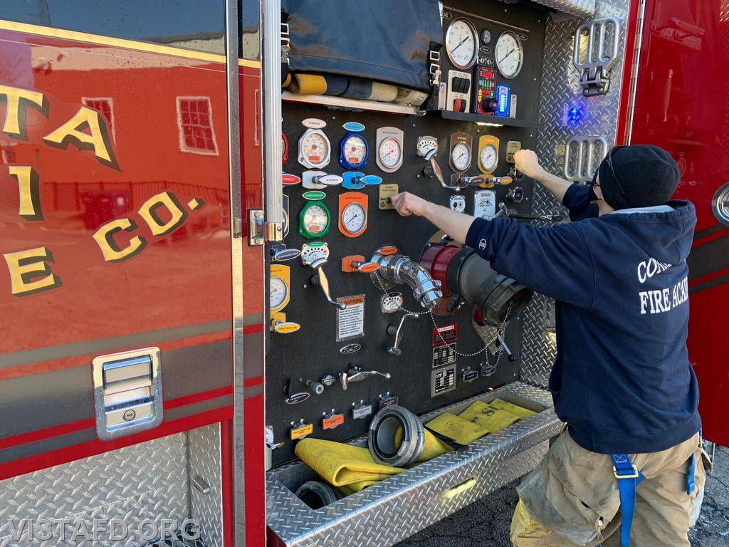 Mutual Responder Dom Mangone practicing motor pump operations on Engine 141