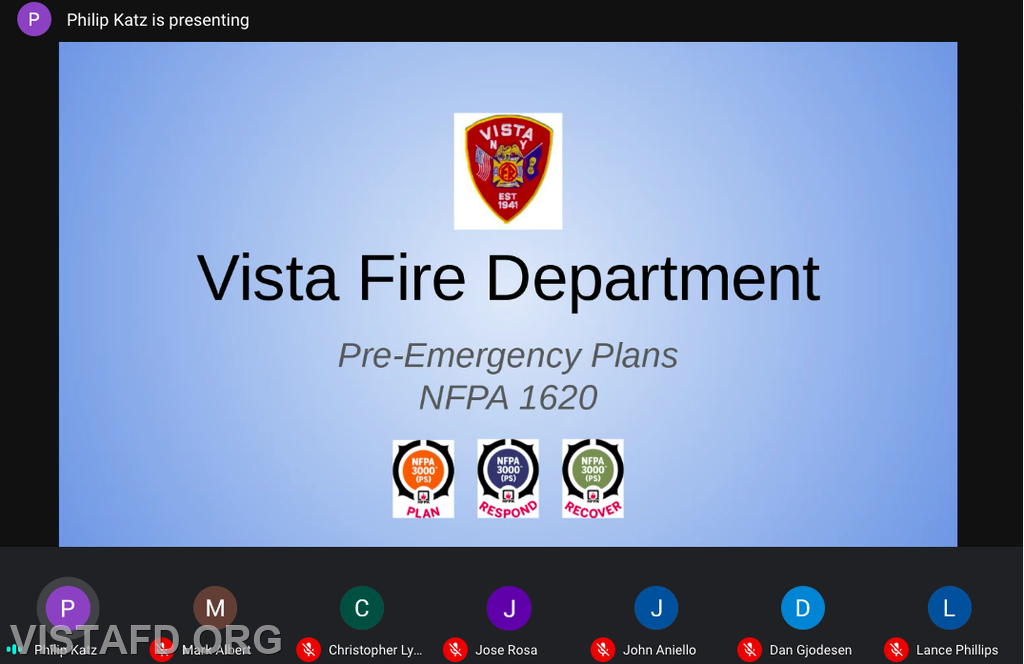 "Vista Firefighting personnel participating in the ""New Apparatus Laptop Orientation - Pre-Plan System Webinar"" drill"