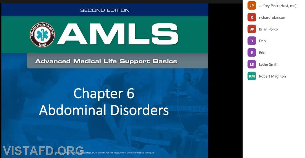 """Vista EMS personnel participating in this month's """"EMS CME Webinar"""" drill"""