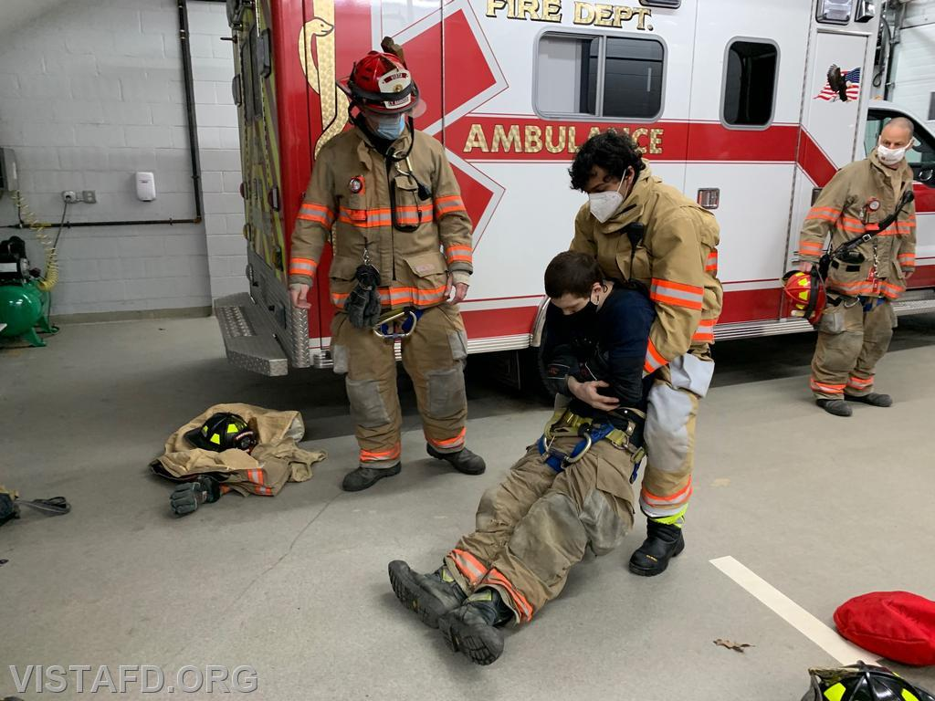 Vista Firefighters practicing search and rescue techniques