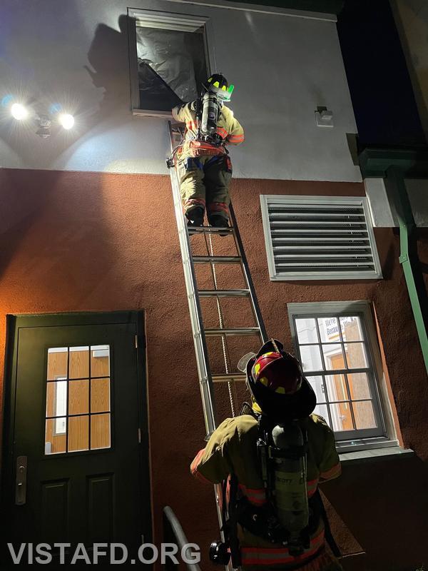 Vista Firefighters conducting a V.E.I.S. scenario