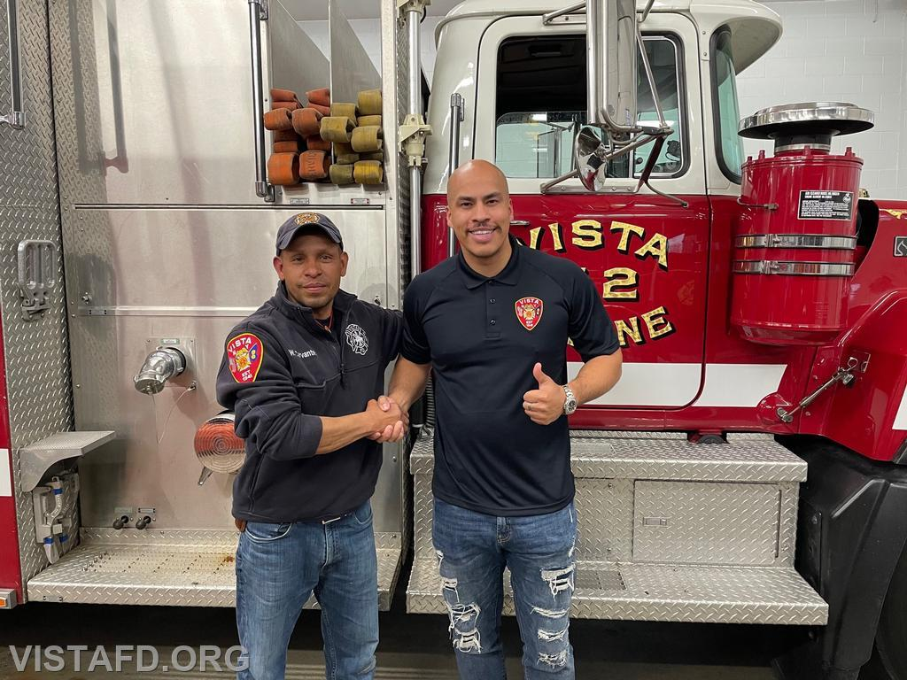 Firefighter Jose Rosa and his mentor, Lieutenant Wilmer Cervantes