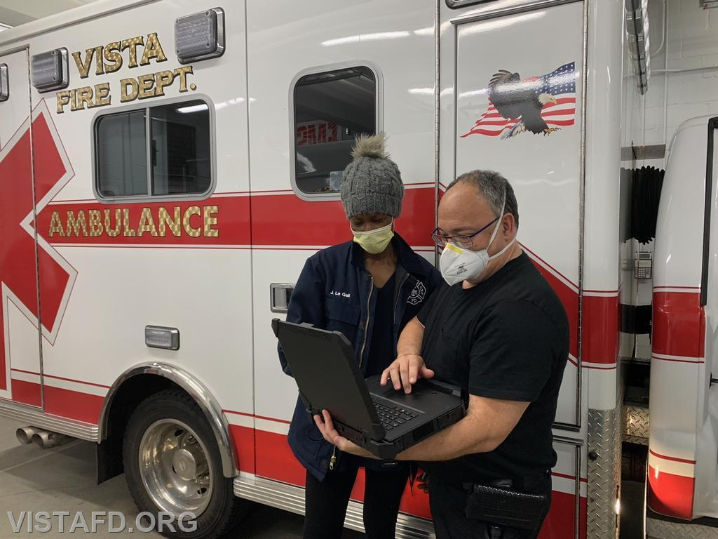 EMT Candidate Judith Le Gall and FF/EMT Candidate Mark Albert using the new ePCR system