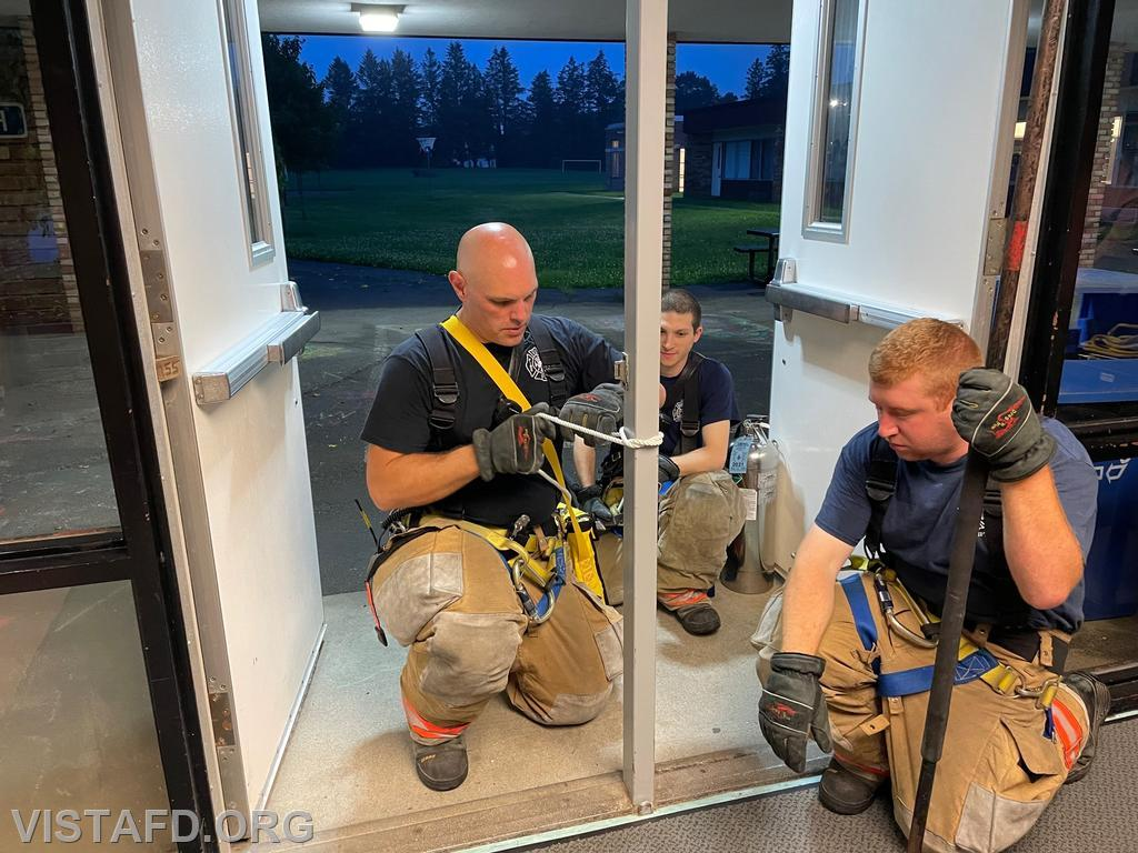 Vista Firefighters conducting search & rescue operations in a commercial building setting