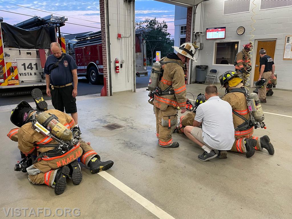 Vista Firefighters practice packaging a downed Firefighter