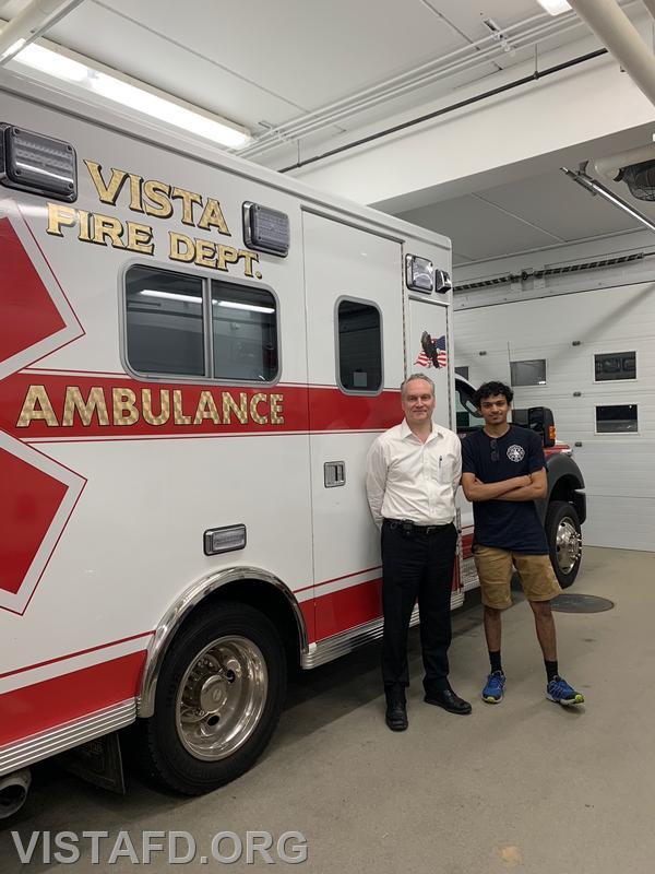 "Team 1 for the ambulance equipment ""scavenger hunt"" Probationary EMT Candidate Robert Magilton and Firefighter Lance Phillips"