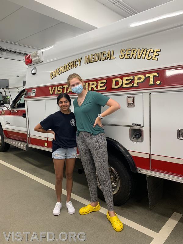 """Team 2 for the ambulance equipment """"scavenger hunt"""" Probationary EMT Candidate Savannah Phillips and EMT Isabel Fry"""