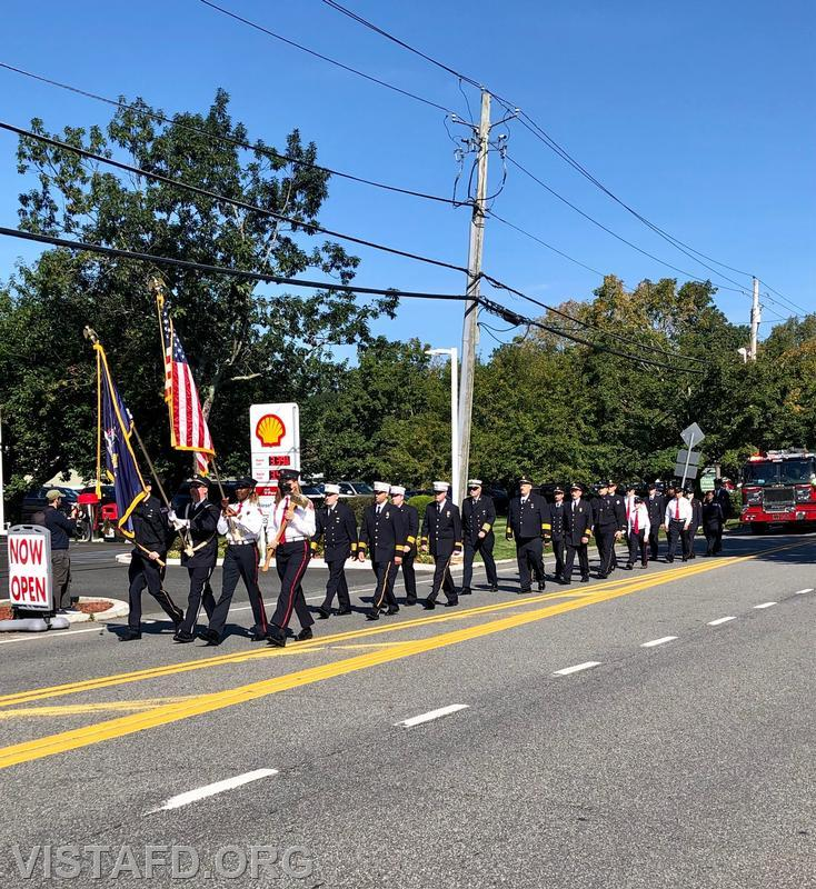 Town of Lewisboro First Responders marching during the Vista Fire Department's 9/11 Memorial Service