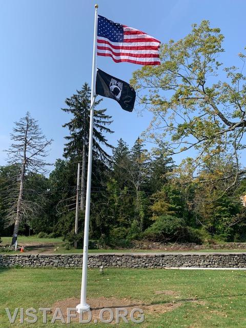The brand new Onatru flag pole after installation and construction were complete