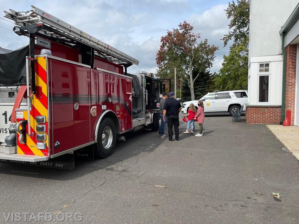 """Engine 141 getting ready to leave for a """"fire truck ride"""" during the 2021 Vista Fire Department Open House"""