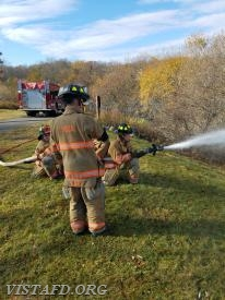"Vista Probationary Firefighters practice hose line operations during ""Firefighter Fundamentals Class"""