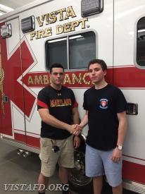 EMT Candidate Mark Sfreddo and his mentor, Foreman Jake Melcher