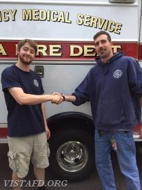EMT Candidate Sean Kaplan and his mentor, Foreman Adam Bartley