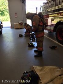 "FF Ryan Ruggiero & Probationary FF Finn Brannan performing the ""2 minute drill"" during ""Firefighter Fundamentals Class"""
