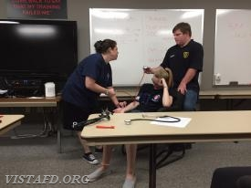 Lt. Allie Fisher reviews how to take a blood pressure by palpitation