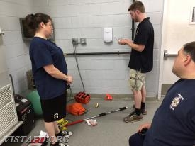 EMT Candidate Sean Kaplan reviewing where equipment goes on our Ambulances
