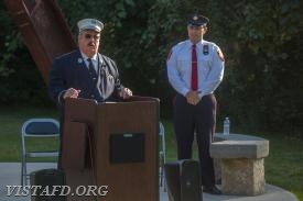 Retired FDNY Lieutenant Dave Russell speaking at the 9/11 Memorial Service
